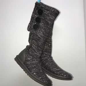 Authentic Ugg Knit/Sequins Slouch Boots. Grey